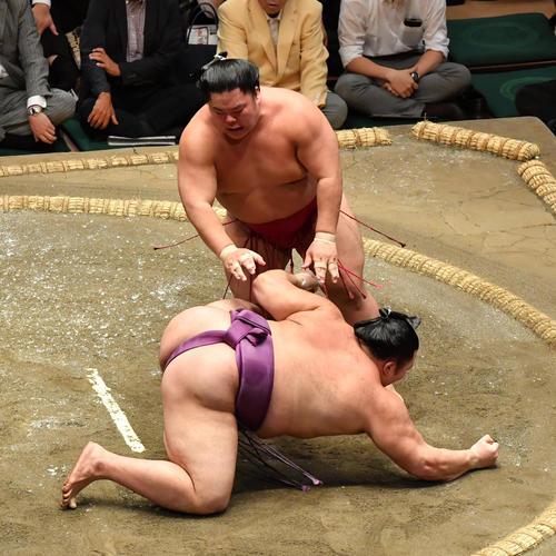 大栄翔(右)は朝乃山を突き落としで破る(撮影・柴田隆二)