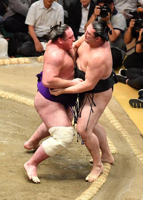 栃ノ心(左)は竜電を寄り切りで破る(撮影・柴田隆二)