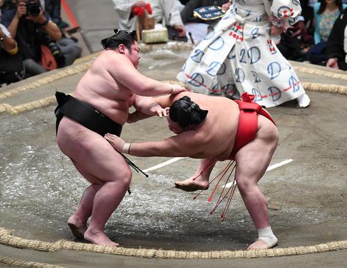 阿武咲(右)は押し倒しで剣翔を下す(撮影・加藤諒)