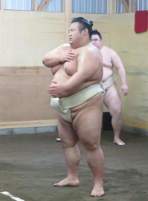 土俵上での稽古を再開した貴景勝は時折、左胸を気にするしぐさを見せた(撮影・高田文太)