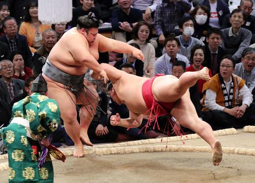 大栄翔(右)をはたき込みで破る貴景勝(撮影・鈴木正人)