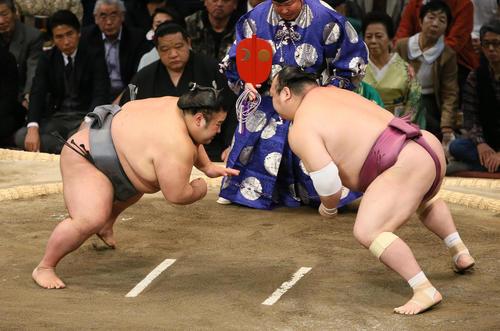 貴景勝(左)を突き落としで破る宝富士(撮影・栗木一考)