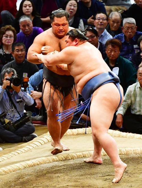 松鳳山(左)を押し出しで破る正代(撮影・清水貴仁)