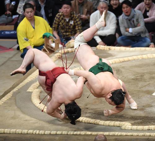 炎鵬(左)を寄り切る佐田の海(撮影・今浪浩三)