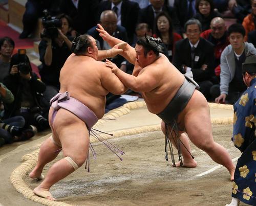 琴勇輝(左)を突き出しで破る貴景勝(撮影・栗木一考)