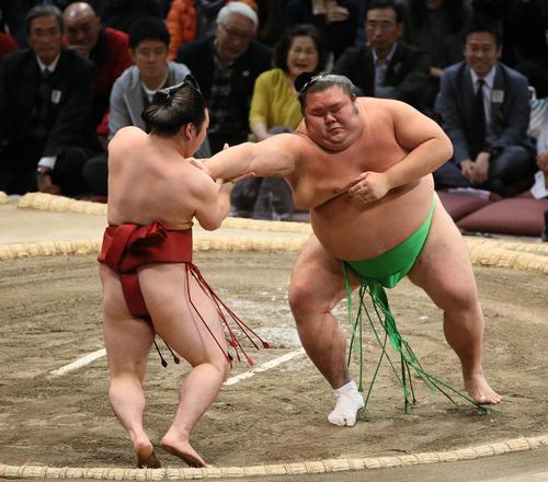 炎鵬(左)を突き出しで破る千代丸(撮影・栗木一考)