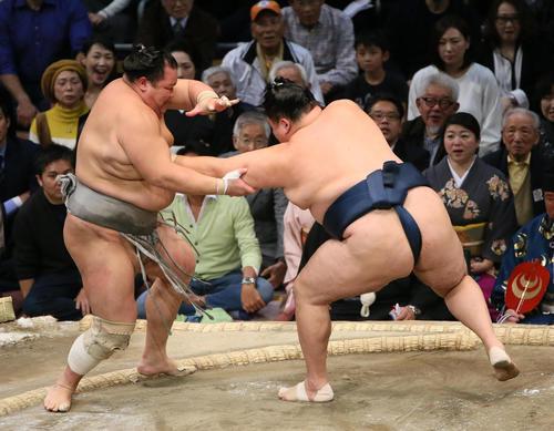 北勝富士(左)を押し出しで破る玉鷲(撮影・栗木一考)