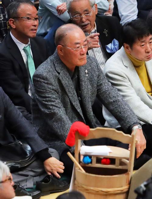 大相撲観戦する張本勲氏(撮影・河田真司)