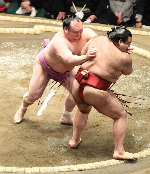 宝富士(左)は高安を押し出しで破る(撮影・小沢裕)