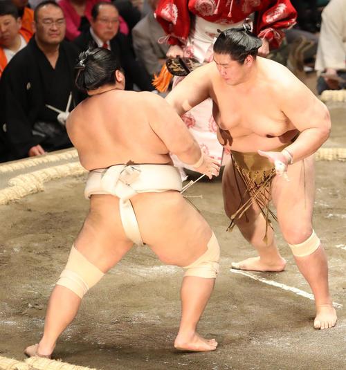 志摩ノ海(左)を押し出す輝(撮影・狩俣裕三)