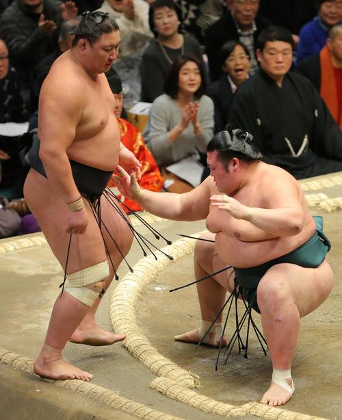 東龍(左)を押し出しで破る豊山(撮影・河田真司)