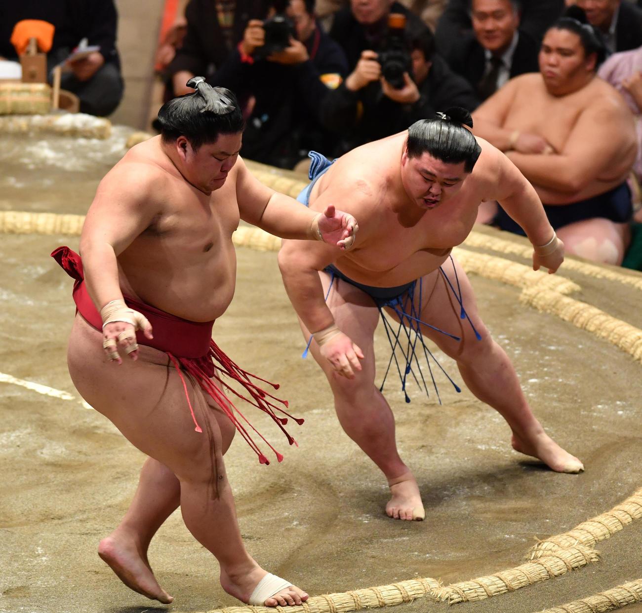 正代(右)は大栄翔を押し出しで破る(撮影・柴田隆二)