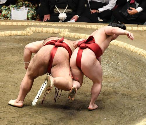 炎鵬(右)は高安を下手投げで破る(撮影・柴田隆二)