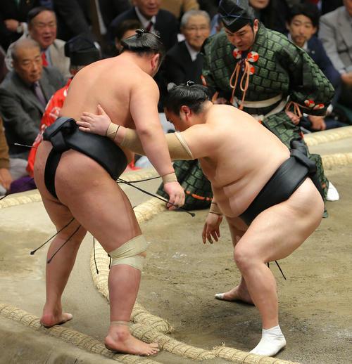 東龍(左)を寄り切りで破る隠岐の海(撮影・河田真司)