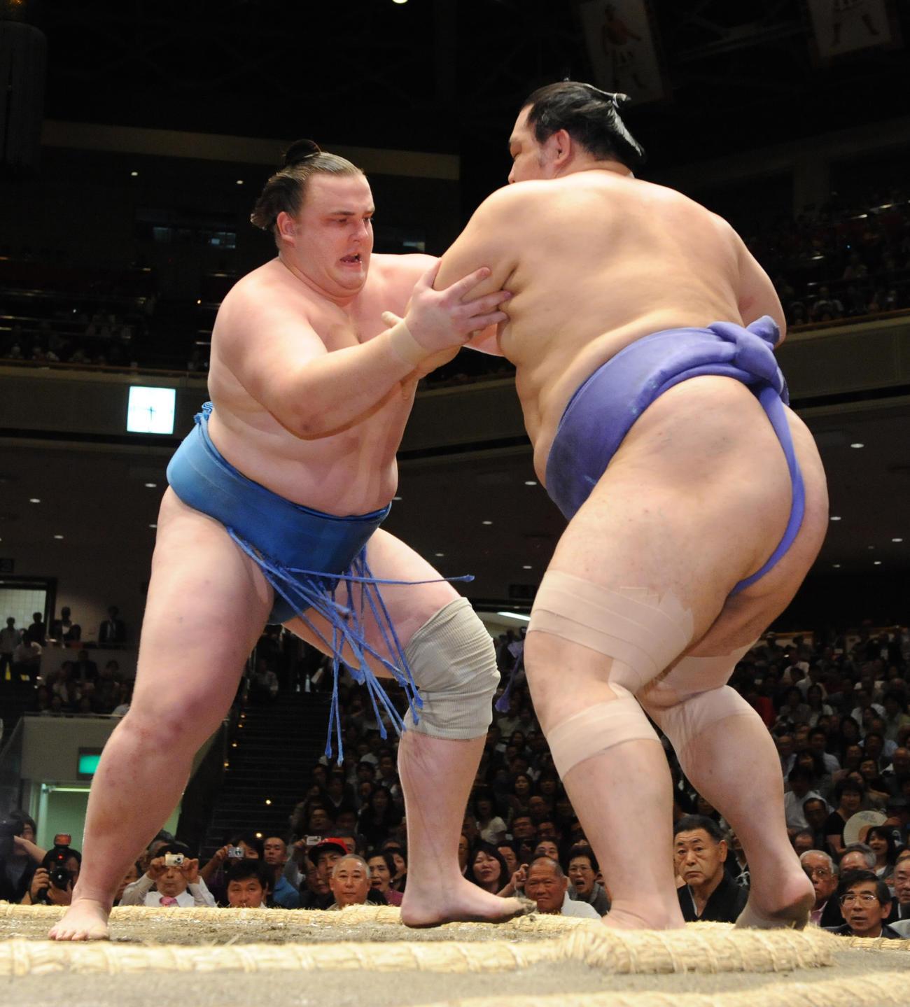 大相撲夏場所9日目 魁皇を押し出しで破り、勝ち越しを決めた把瑠都(2010年5月17日)
