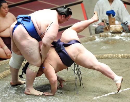阿武咲(右)をはたき込みで破る碧山(撮影・中島郁夫)