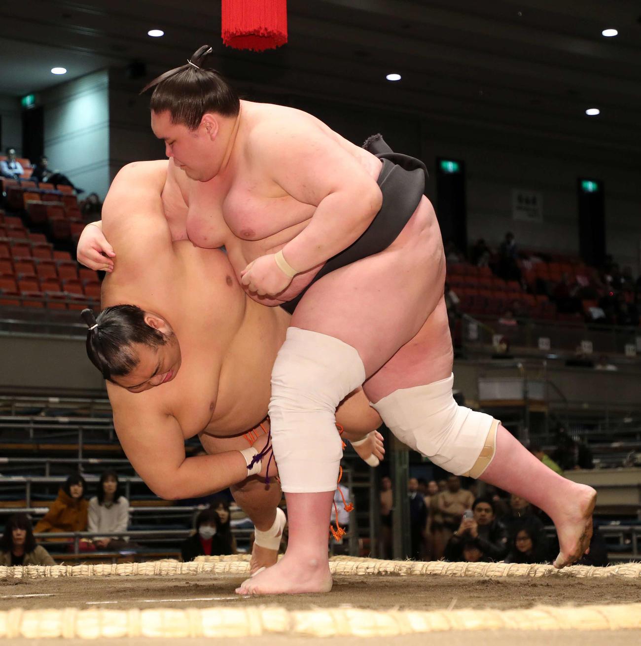 寺尾翔(左)をすくい投げで破る照ノ富士(19年3月16日)
