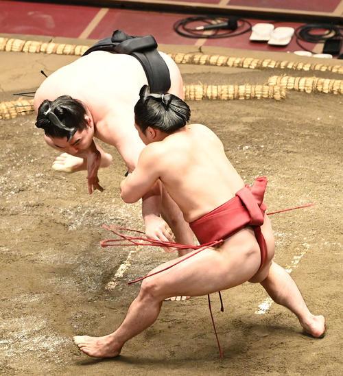 炎鵬(右)は竜電の腕を取って振り回す(撮影・山崎安昭)