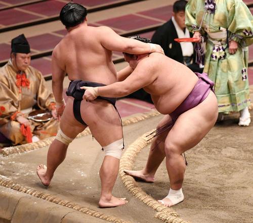 妙義龍(左)を寄り切りで破る朝乃山(撮影・滝沢徹郎)