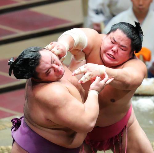 大栄翔(右)の攻めに耐える朝乃山(撮影・河田真司)