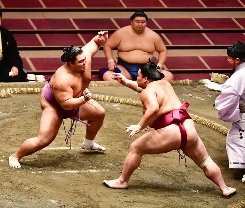 大栄翔(右)を土俵際へ追い込む朝乃山。中央土俵下は正代(撮影・小沢裕)