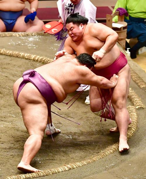 大栄翔(右)を押し倒しで破る朝乃山(撮影・小沢裕)