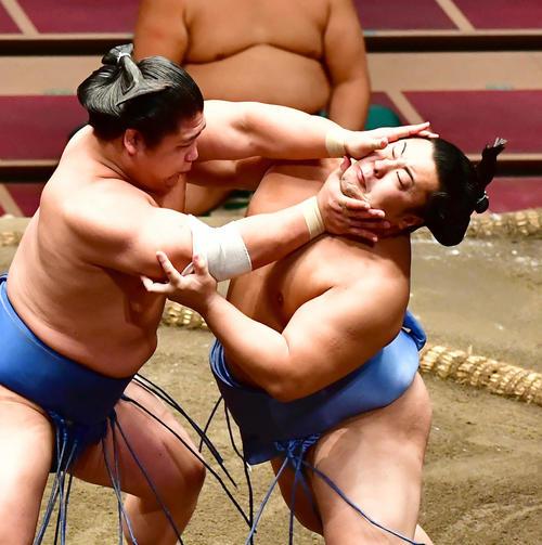 2敗力士同士の直接対決で若隆景(左)の攻めをこらえる翔猿(撮影・小沢裕)