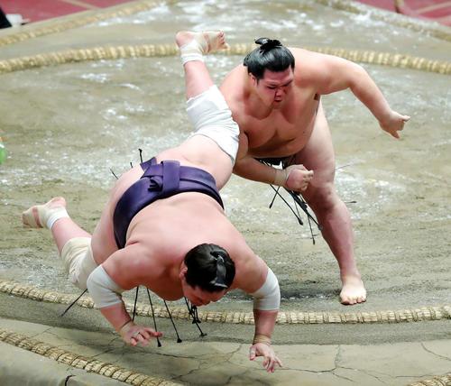 照ノ富士(左)を寄り倒しで破る阿武咲(撮影・河田真司)