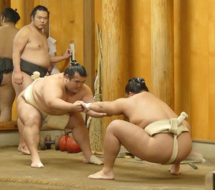 佐渡ケ嶽部屋稽古 関取衆を指導する秀ノ山親方(左)(2020年12月12日撮影)