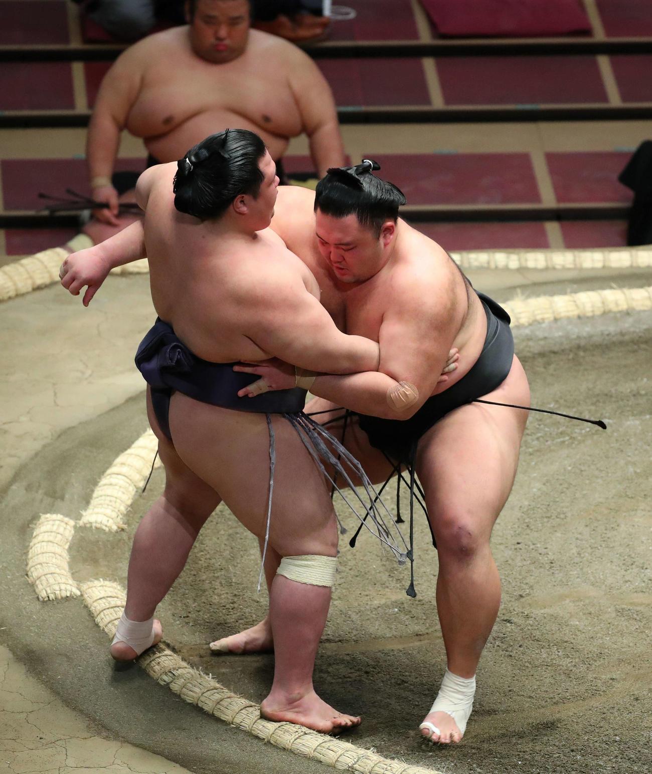 阿武咲(左)を寄り切りで破る朝乃山(撮影・河田真司)