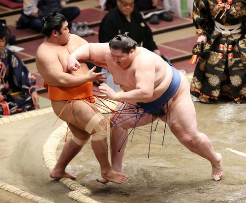 志摩ノ海(左)を押し出しで破る逸ノ城(撮影・鈴木正人)