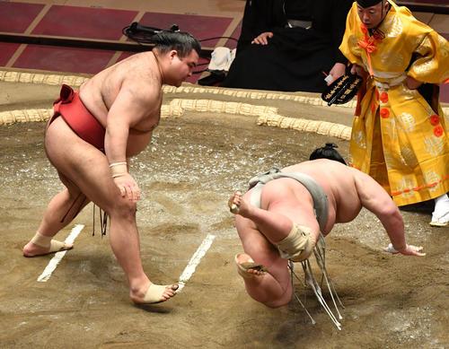 高安(左)は北勝富士を突き落としで破る(撮影・柴田隆二)