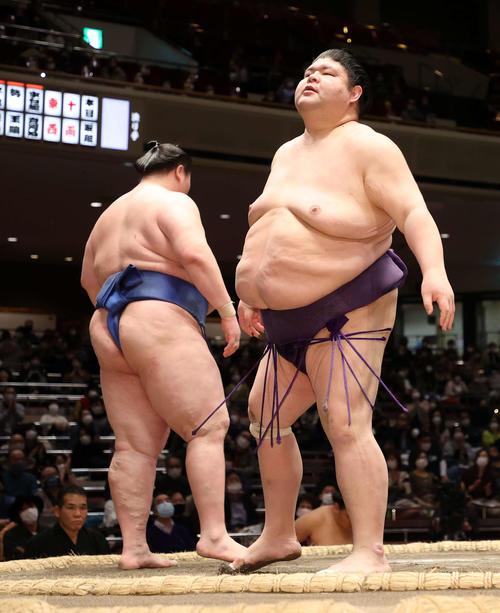 逸ノ城(左)に引き落としで敗れた明瀬山(撮影・鈴木正人)