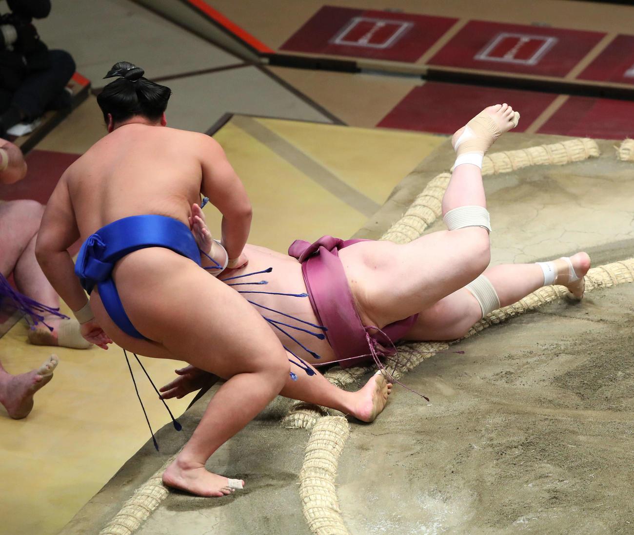 琴勝峰(左)を寄り切りで破る宝富士(撮影・河田真司)