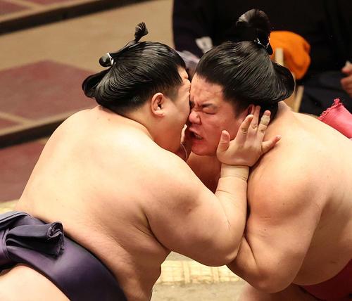 立ち合いで阿武咲(左)と激しく衝突する大栄翔(撮影・河野匠)