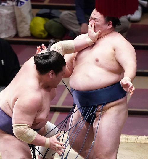 玉鷲(右)を押し出しで破る照ノ富士(撮影・江口和貴)