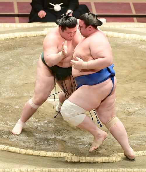 豊山(左)は碧山を押し出しで破る(撮影・小沢裕)