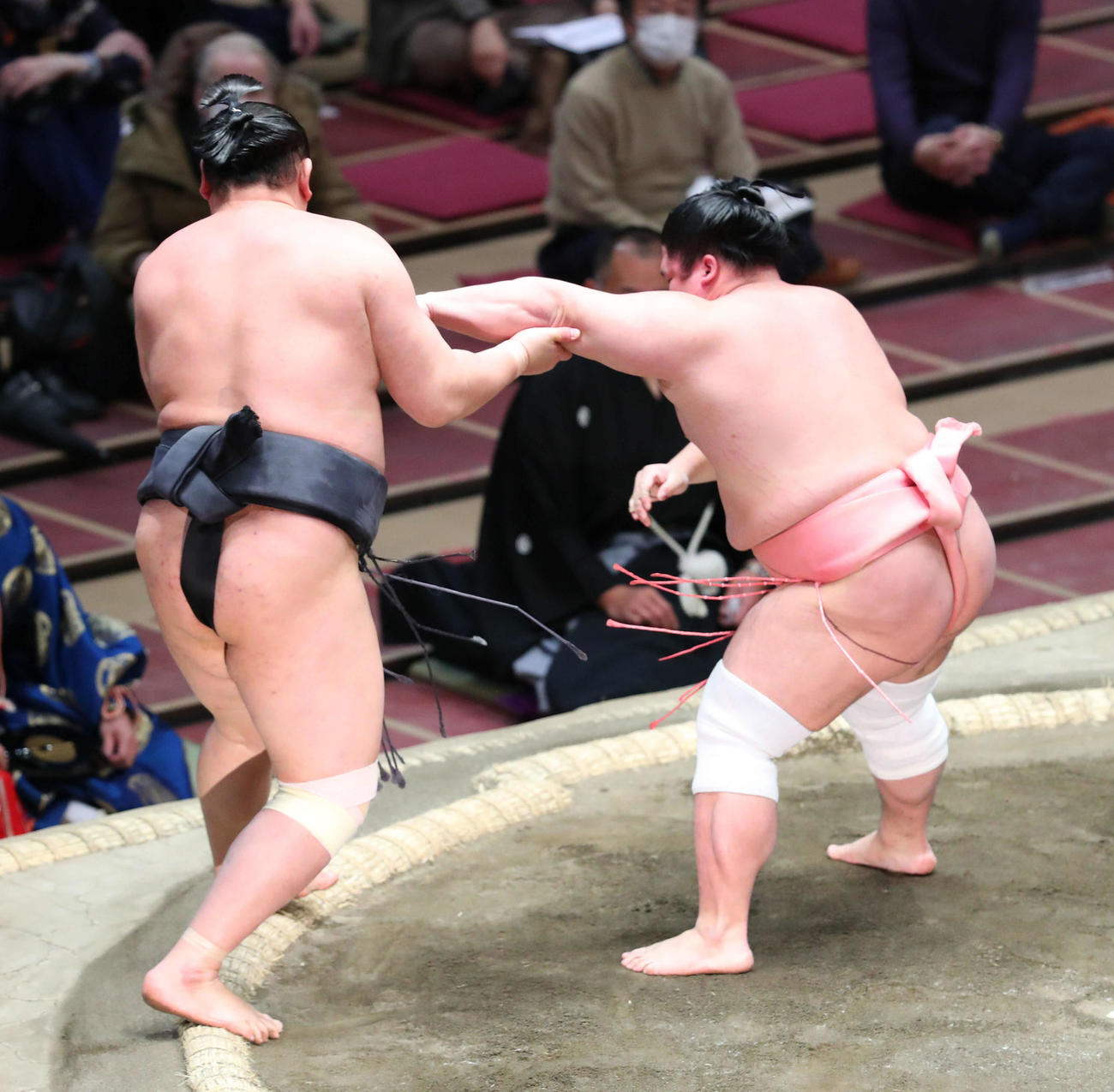 東龍(左)を押し出しで破る宇良(撮影・河田真司)