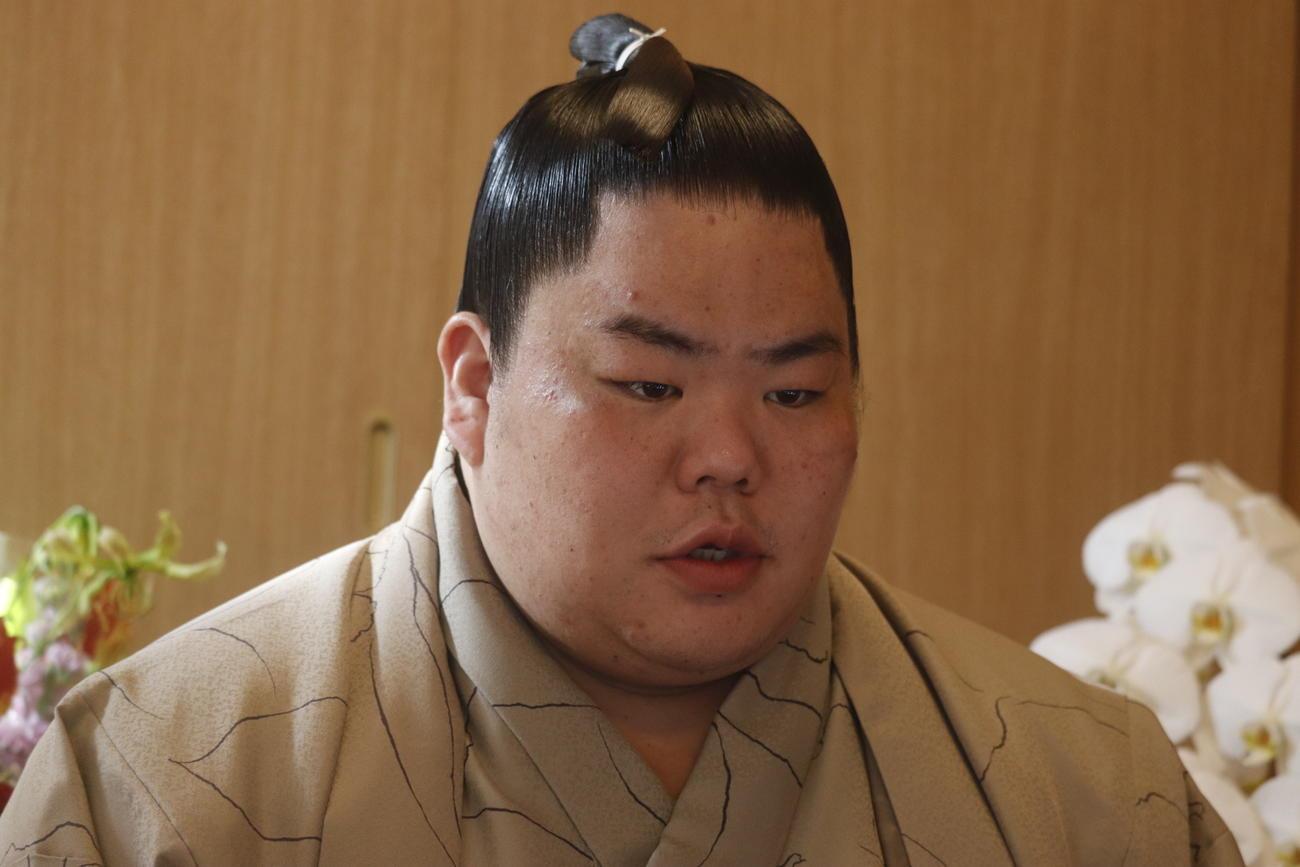 初優勝した初場所から一夜明けてリモートでの会見に出席した大栄翔(日本相撲協会提供)