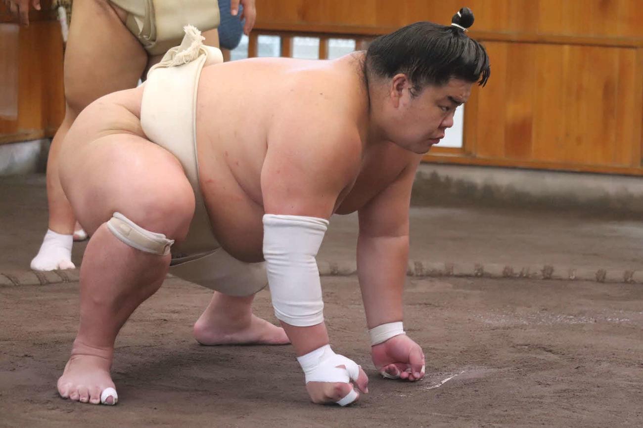 埼玉・草加市の追手風部屋で春場所に向けて稽古を行う大栄翔(日本相撲協会提供)