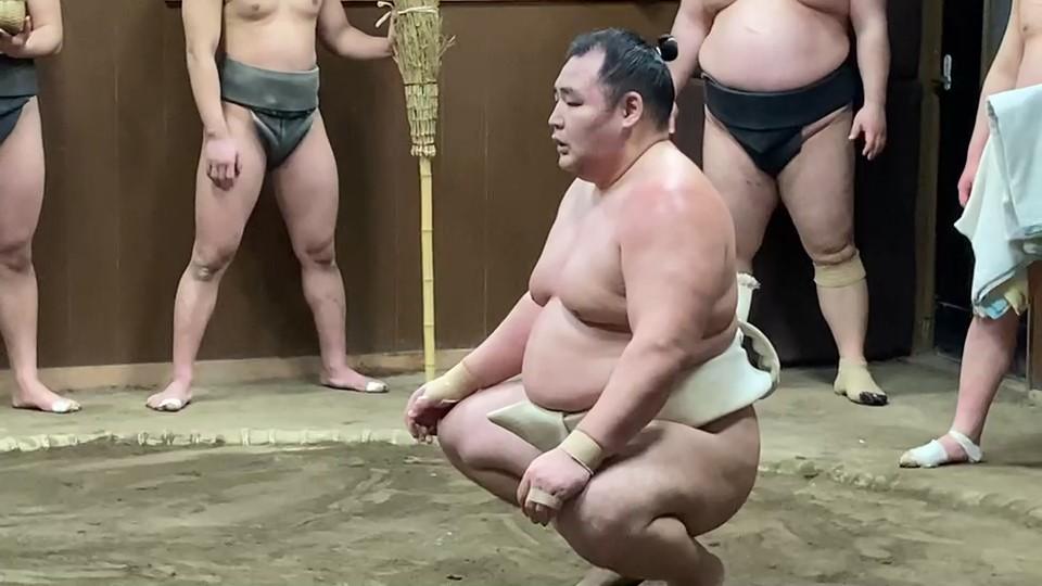 春場所に向けて稽古をする鶴竜(日本相撲協会提供)