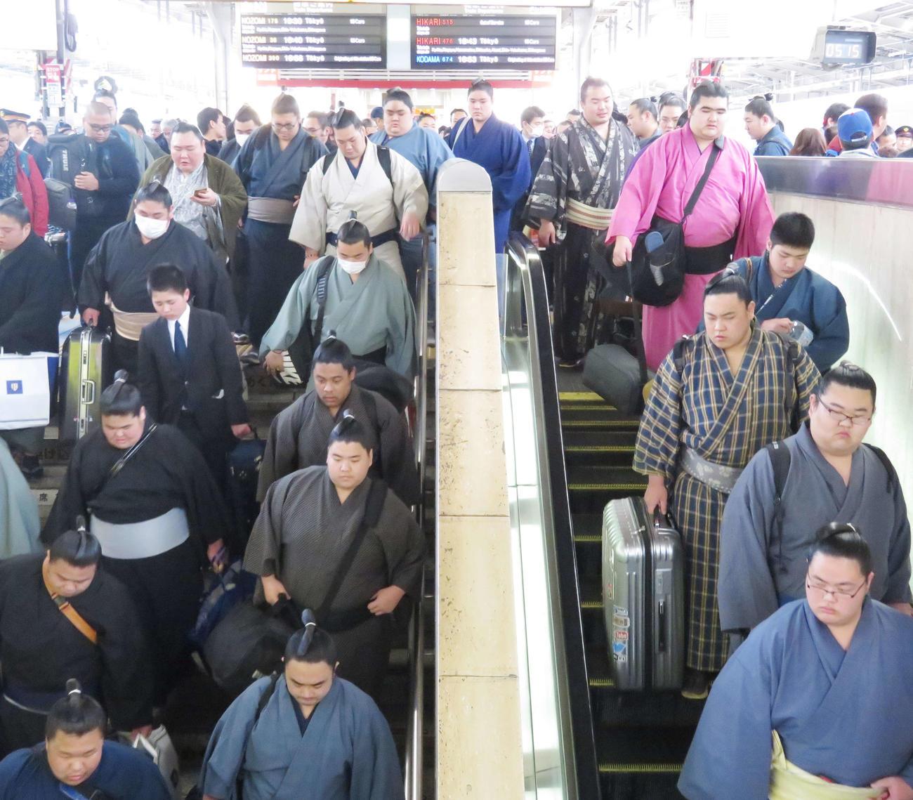 春場所に向けて新幹線で大阪に到着した力士たち(2019年2月24日撮影)