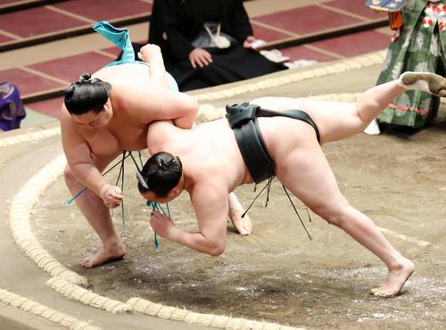 千代翔馬(右)を小手投げで破る琴ノ若(撮影・鈴木正人)