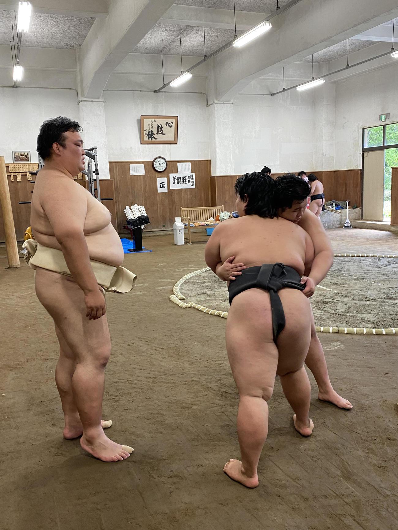 荒磯部屋の初稽古で弟子を指導する荒磯親方(左)(日本相撲協会提供)