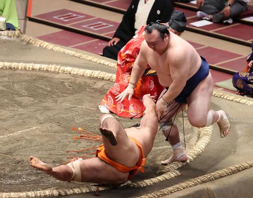 志摩ノ海(左)を突き落とす宝富士(撮影・河野匠)