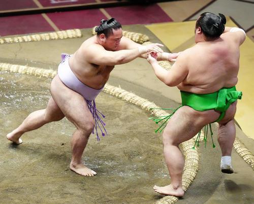 千代丸(右)を突き出しで破る琴恵光(撮影・江口和貴)