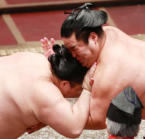 立ち会いでぶつかり合う阿武咲(左)と妙義龍(撮影・野上伸悟)
