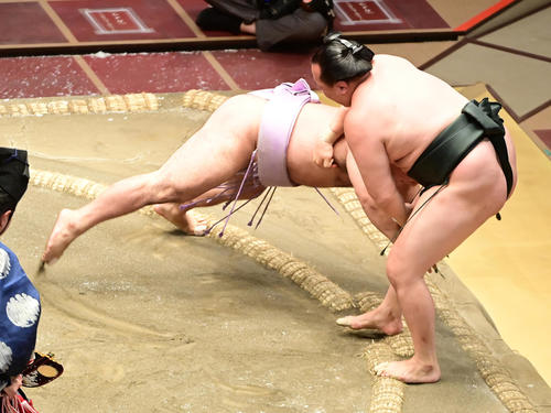 琴恵光(左)は千代翔馬を押し出しで破る(撮影・小沢裕)