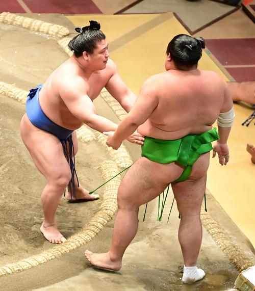 若隆景(左)は千代丸を寄り切りで破る(撮影・小沢裕)