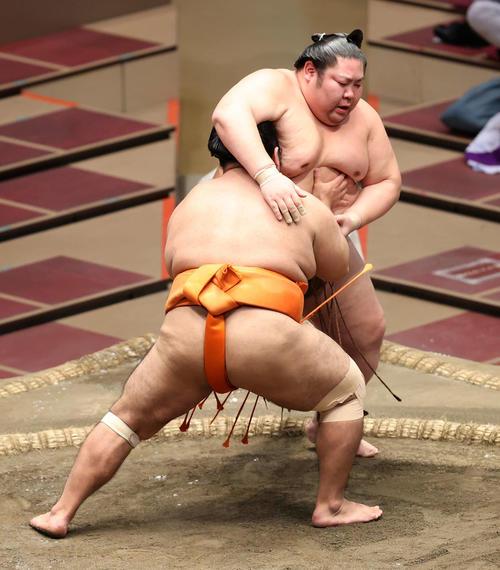 剣翔(後方)を寄り切りで破る志摩ノ海(撮影・鈴木正人)